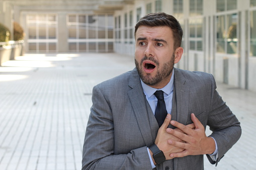 istock Hypochondriac businessman worried about dying 1023505314