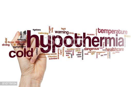 Hypothermia word cloud concept
