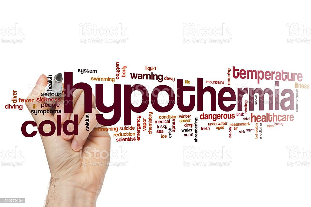 Hypothermia word cloud stock photo