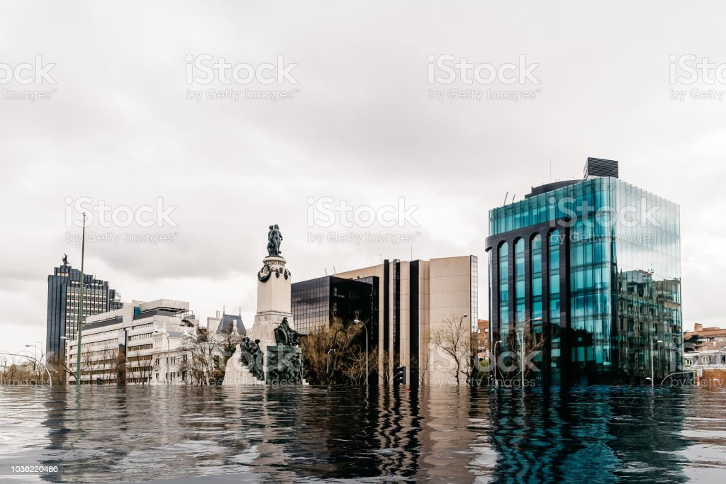 Hypothetical flood of water in Madrid due to global warming stock photo