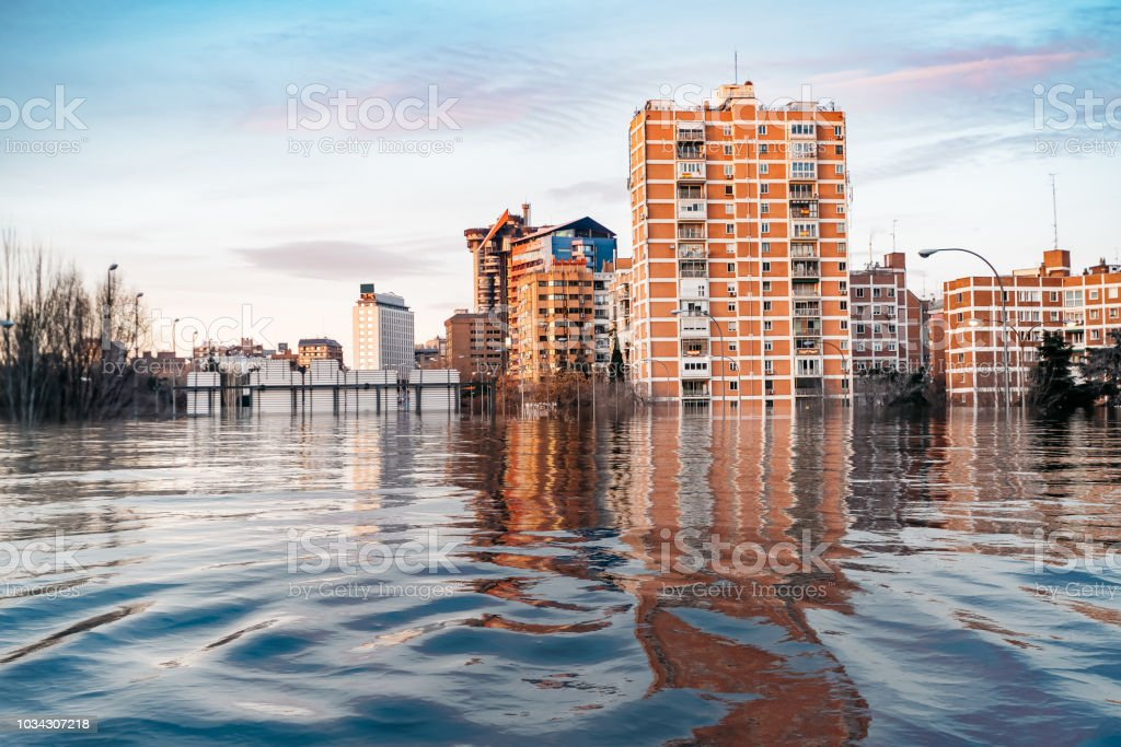 Hypothetical flood of water in Madrid due to the effects of glob stock photo