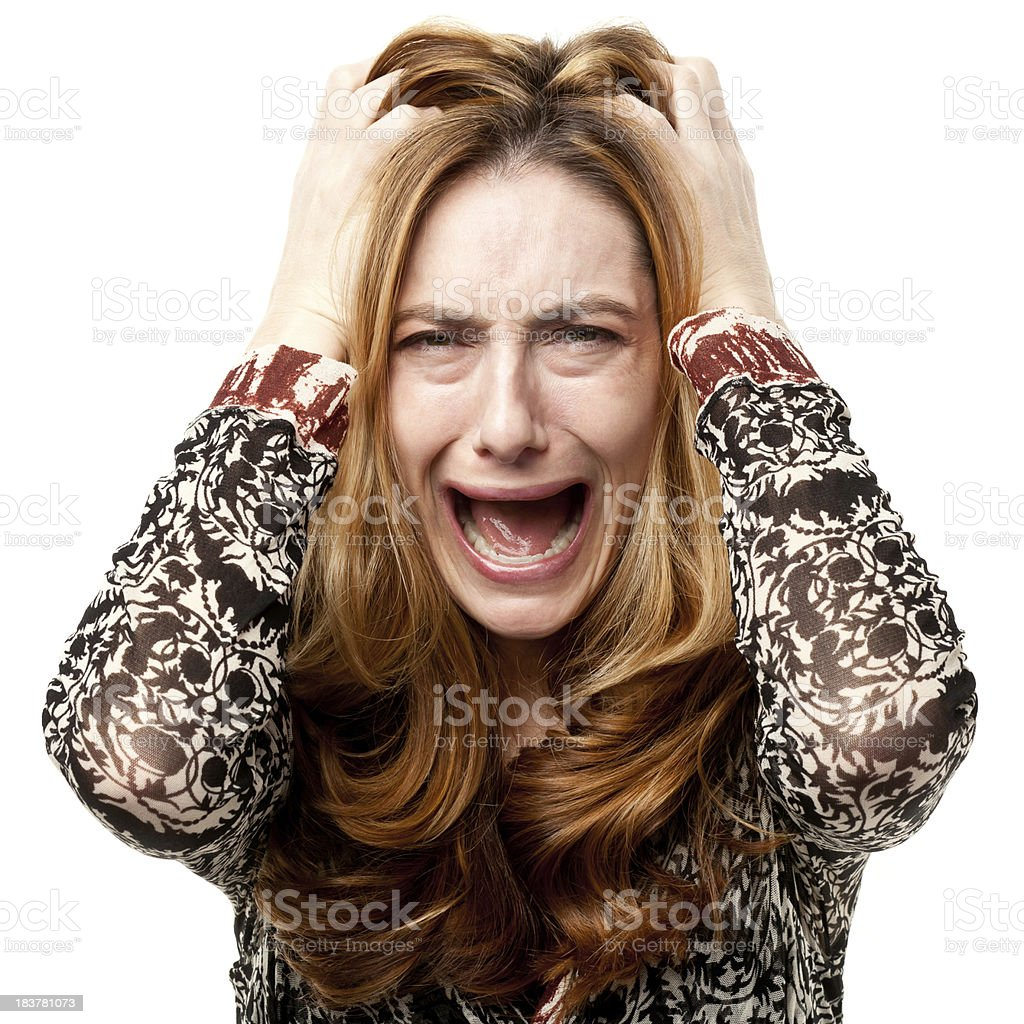 Hysterical Outraged Unhappy Woman royalty-free stock photo