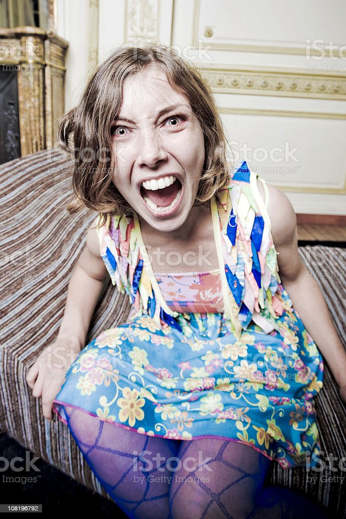 Hysterical Screaming Woman royalty-free stock photo