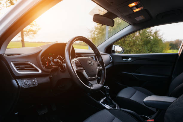 hyundai accent 2017 interior with sunlight - car interior stock photos and pictures