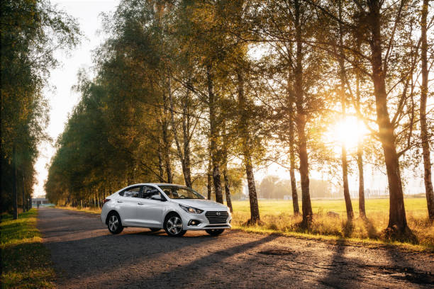 Hyundai Accent 2017 on country road stock photo