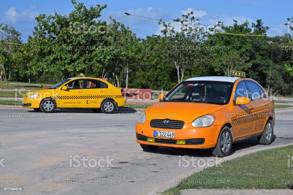 Hyundai Accent vehicles in taxi version stock photo