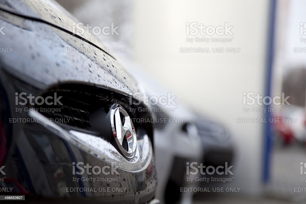 Hyundai badge on front grille stock photo