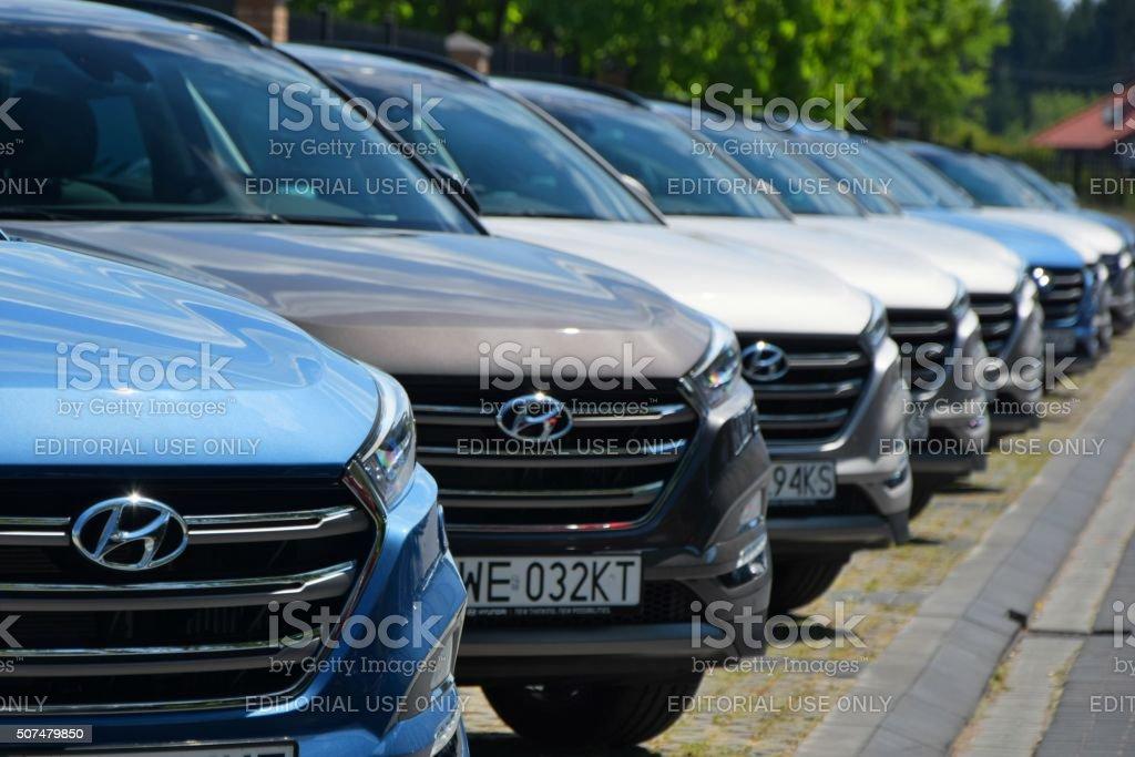 Hyundai cars in a row stock photo