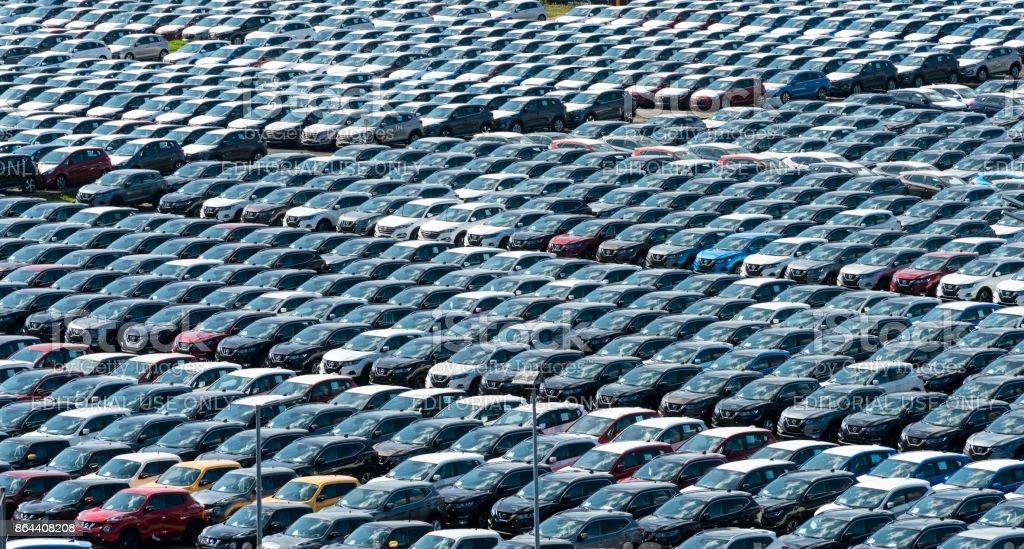 Hyundai cars on dockside in Gdansk, Poland stock photo