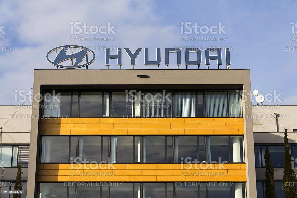 Hyundai company logo on Czech headquarters stock photo