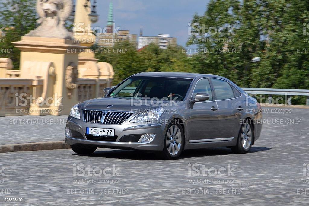 Hyundai Equus in motion stock photo