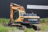Fareins, France - June 6, 2020: Hyundai excavator. The Hyundai Motor Company is a South Korean multinational automotive manufacturer headquartered in Seoul, South Korea
