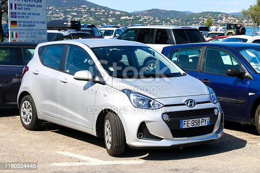 Saint-Tropez, France - September 11, 2019: Grey hatchback Hyundai i10 in the city street.