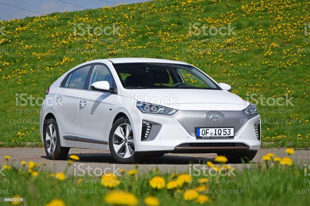 Hyundai Ioniq Electric on the street stock photo