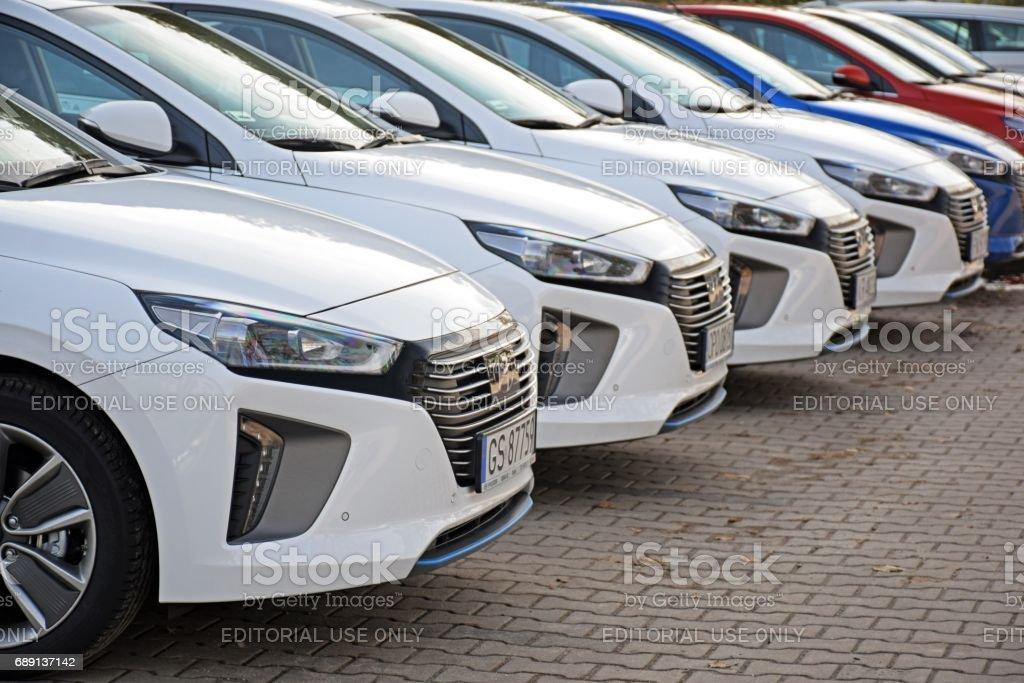 Hyundai Ioniq Hybrid vehicles stock photo