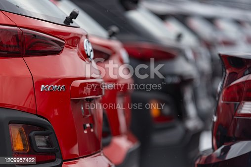 Halifax, Canada - March 1, 2020 - A 2020 Hyundai Kona Crossover Suvs at a dealership in Halifax's North End.