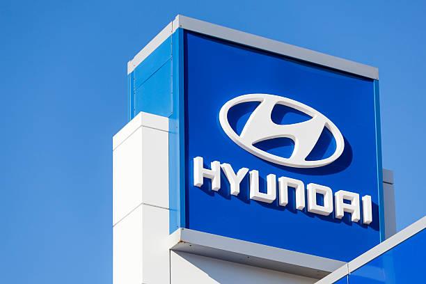 Hyundai Sign at Car Dealership stock photo