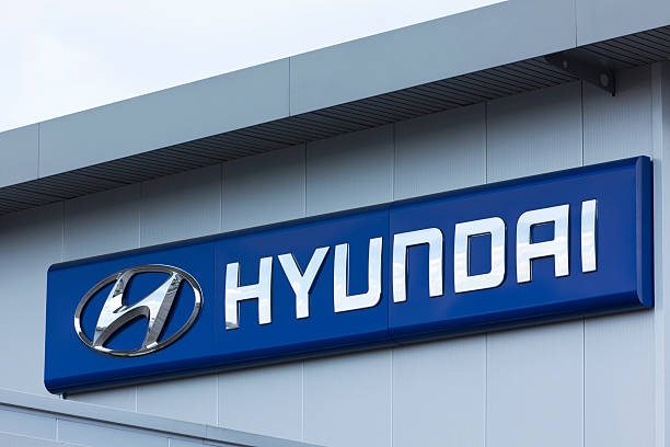 Hyundai sign on wall stock photo