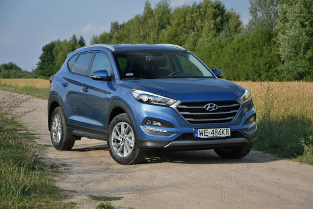 Hyundai Tucson on the road stock photo