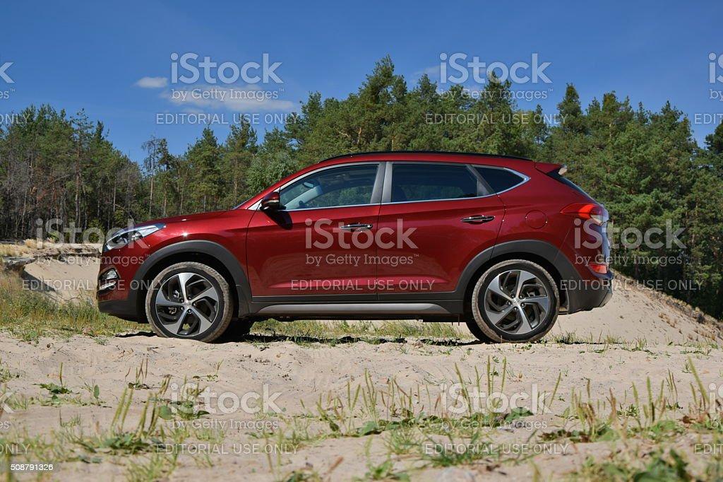 Hyundai Tucson on the unmade road stock photo