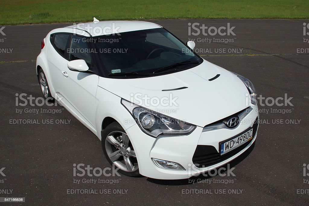 Hyundai Veloster on the road stock photo