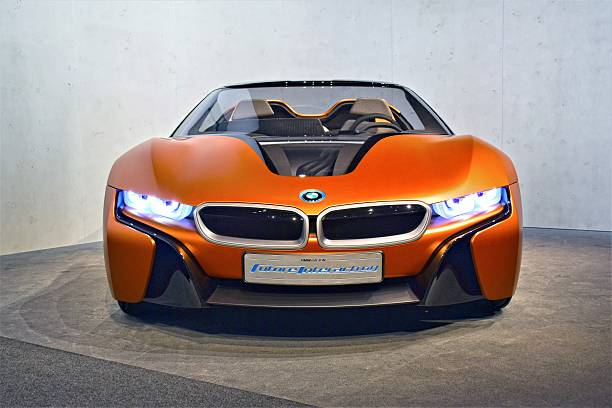 BMW i Vision Future Interaction Munich, Germany – March 16th, 2016: Presentation of a zero emission supercar BMW i Vision Future Interaction. This prototype demonstrates how will be look the new cars from BMW in future. bmw stock pictures, royalty-free photos & images