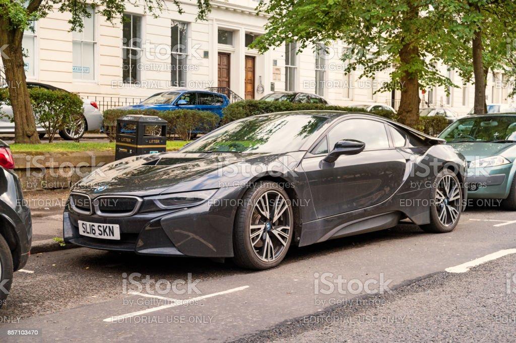 BMW i8 eléctricos deportes coupe coche - foto de stock