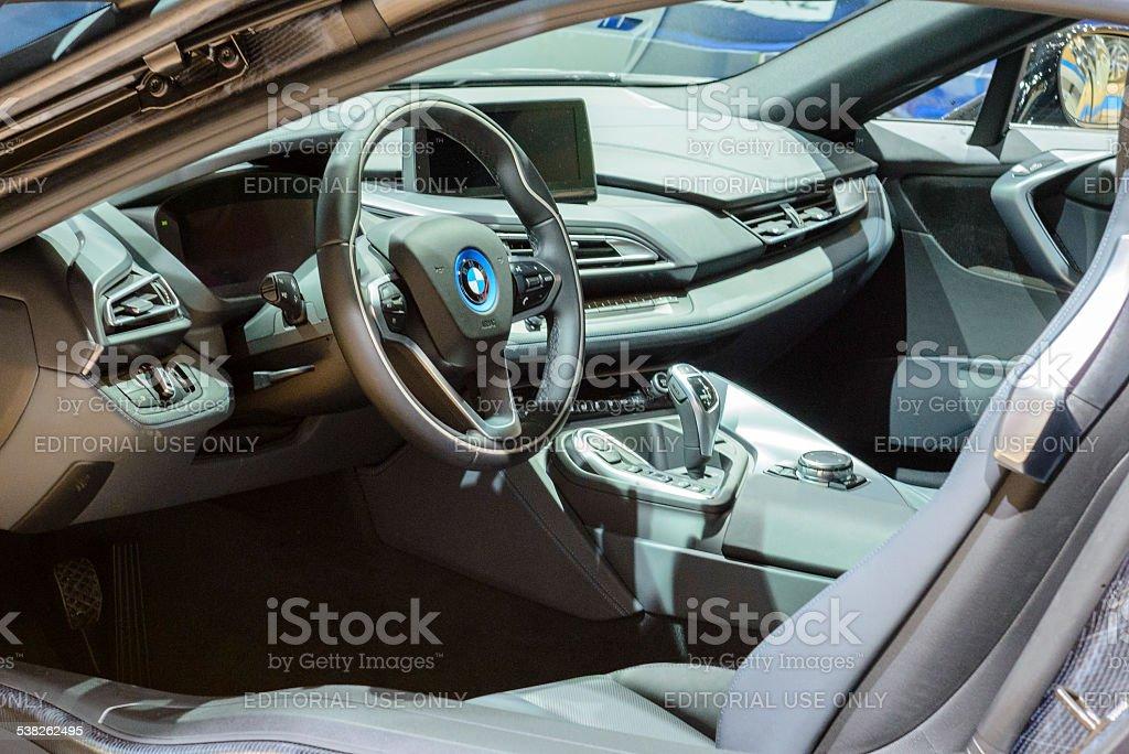 BWW i8 de deportes de interior del coche híbrido - foto de stock