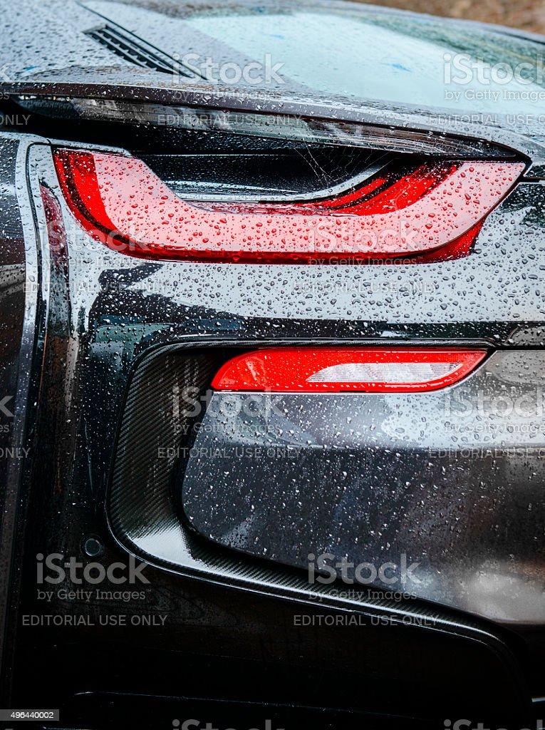 BMW i8 híbrido de luz trasera coche deportivo - foto de stock