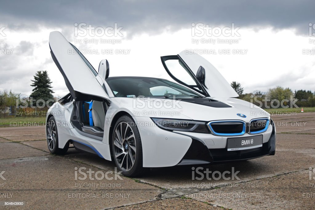 BMW i8 on the parking stock photo