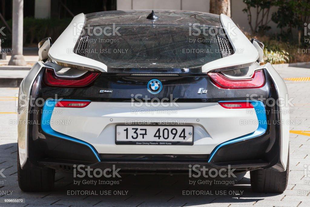 BMW i8 plug-in hybrid sports car, rear view stock photo
