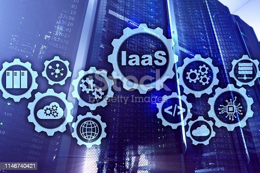 IaaS, Infrastructure as a Service. Online Internet and networking concept. Graph icons on a digital screen.