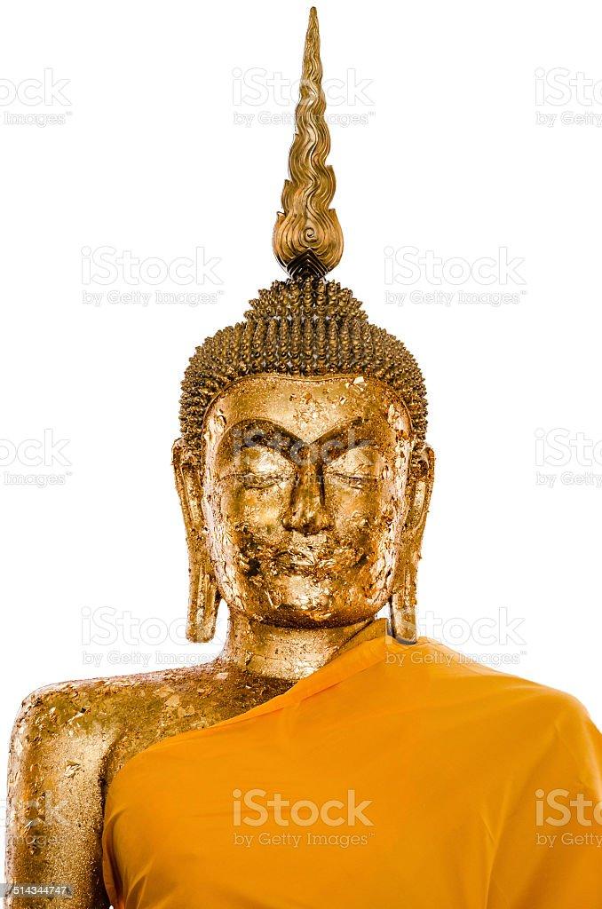 Iamage of Buddha with gold leaf. stock photo