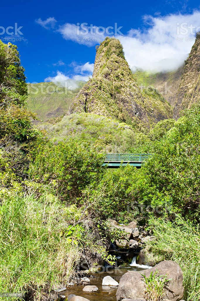 Iao Needle And River, Maui stock photo