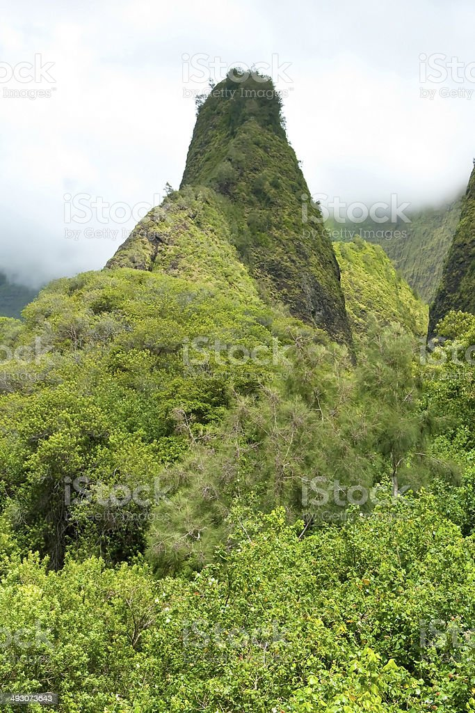 Iao Needle in Valley State Park on Maui Hawaii stock photo