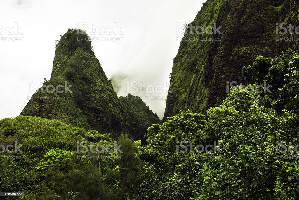 Iao Needle on the island of Maui in Hawaii stock photo
