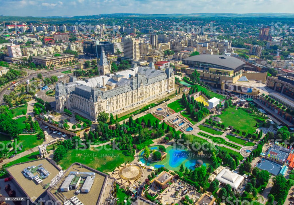 Iasi city view of Culture Palace. stock photo
