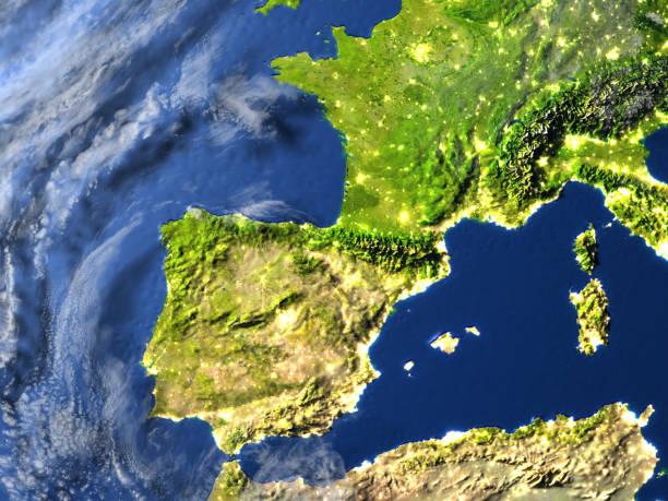 iberia on planet earth - portugal map imagens e fotografias de stock