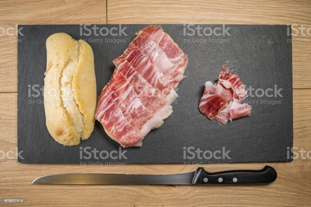 Sándwich de jamón ibérico de bellota - foto de stock