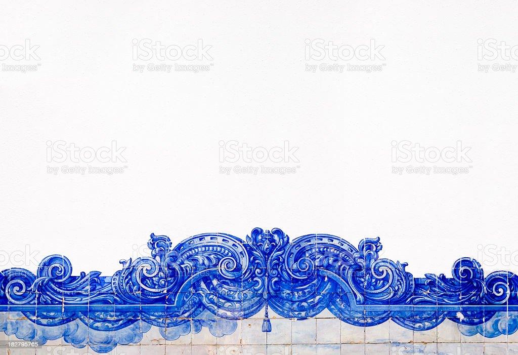 Ibérico mosaico azul e branco de fronteira - fotografia de stock