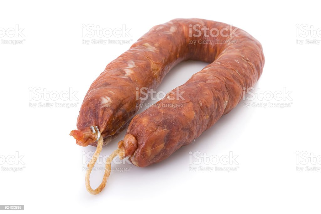 Iberian chorizo from Portugal isolated on white royalty-free stock photo