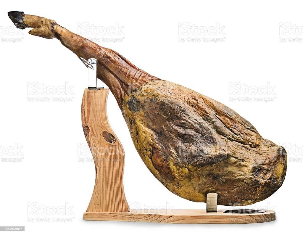 Iberian ham isolated stock photo