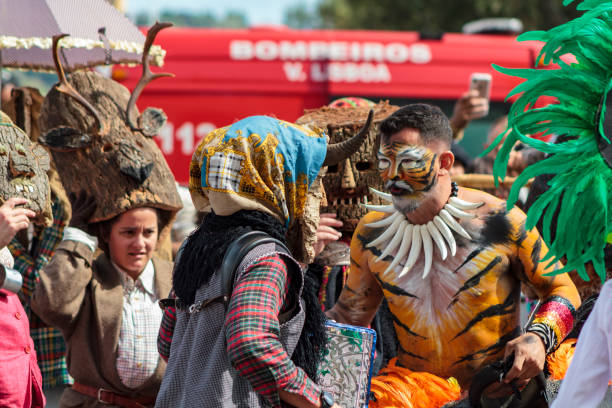 iberian mask festival parade in lisbon - demoniac stock pictures, royalty-free photos & images
