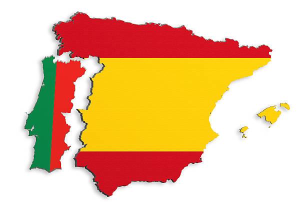 península ibérica mapa - portugal map imagens e fotografias de stock