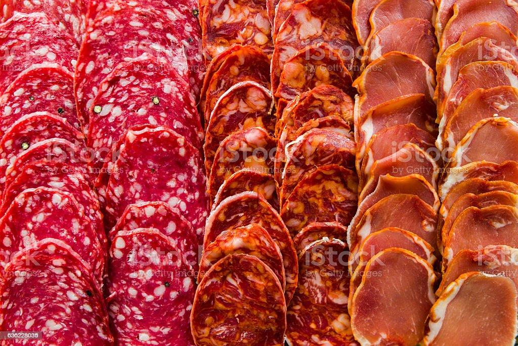 Iberian sausages mix stock photo