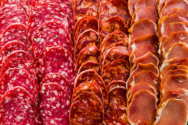 iberian sausages mix - chorizo wurst stock-fotos und bilder