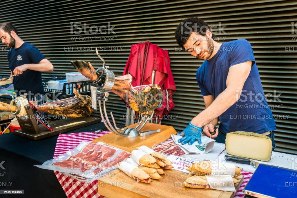Iberico ham sandwiches stall stock photo