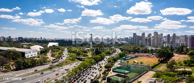 View of Ibirapuera Park, obelisk and building of the Sao Paulo city  in sunny afternoon. Brazil.