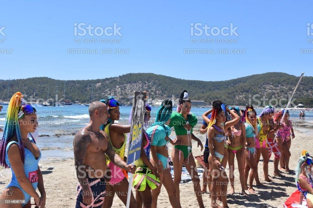 Ibiza Beach Promotion Party Promoter Ibiza Spain Stock Photo
