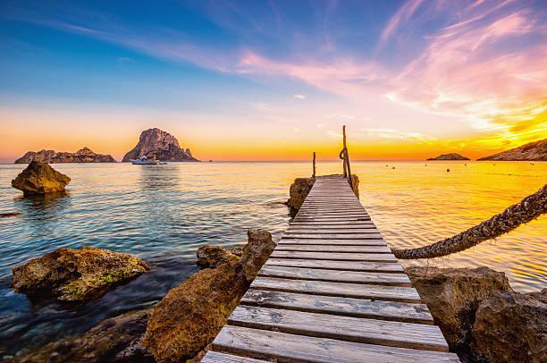 Ibiza - Cala D'hort Sunset stock photo